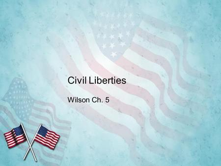 Civil Liberties Wilson Ch. 5. The Politics of Civil Liberties Civil liberties: protections the Constitution (FOR ALL AMERICANS) provides against the abuse.