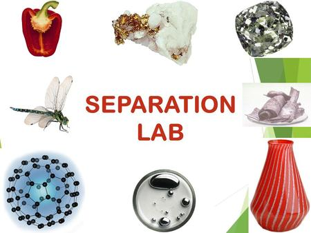 SEPARATION LAB. Purpose The main purpose of this lab is to give you experience with techniques for separating different kinds of matter based on their.