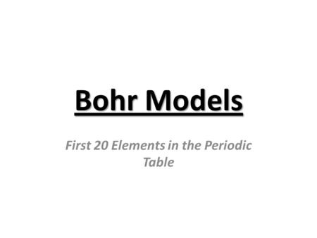 Bohr Models First 20 Elements in the Periodic Table.