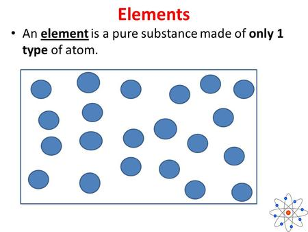 Elements An element is a pure substance made of only 1 type of atom.