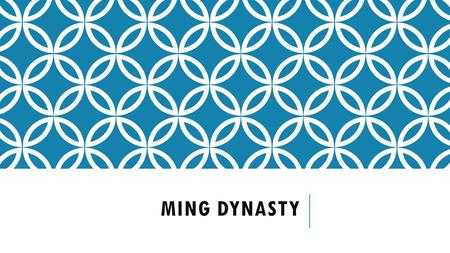 MING DYNASTY. In 1368, Hong Wu established the Ming dynasty and the Mings ruled until The Early Ming Emperors brought peace and stability to China.