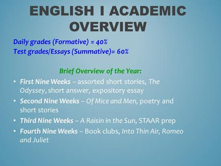 ENGLISH I ACADEMIC OVERVIEW Daily grades (Formative) = 40% Test grades/Essays (Summative)= 60% Brief Overview of the Year: First Nine Weeks – assorted.