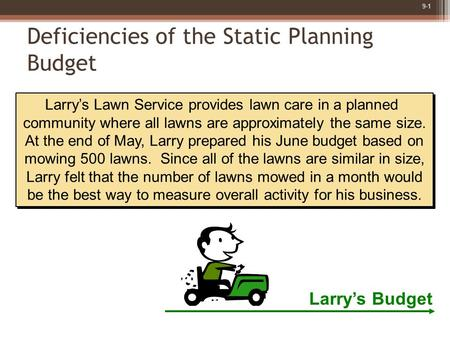 9-1 Larry's Lawn Service provides lawn care in a planned community where all lawns are approximately the same size. At the end of May, Larry prepared his.