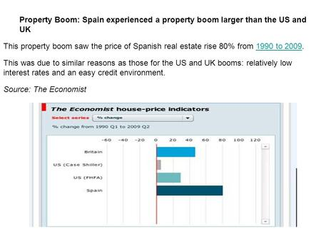 Property Boom: Spain experienced a property boom larger than the US and UK This property boom saw the price of Spanish real estate rise 80% from 1990 to.