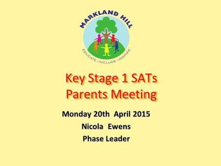 Key Stage 1 SATs Parents Meeting Monday 20th April 2015 Nicola Ewens Phase Leader.