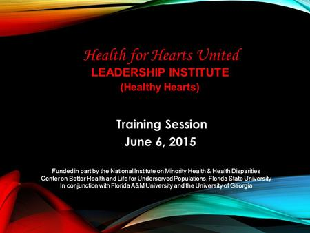 LEADERSHIP INSTITUTE Training Session June 6, 2015 Funded in part by the National Institute on Minority Health & Health Disparities Center on Better Health.