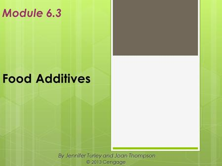 Food Additives By Jennifer Turley and Joan Thompson © 2013 Cengage Module 6.3.