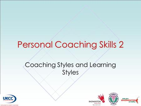 Personal Coaching Skills 2 Coaching Styles and Learning Styles.