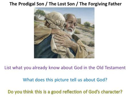 The Prodigal Son / The Lost Son / The Forgiving Father.