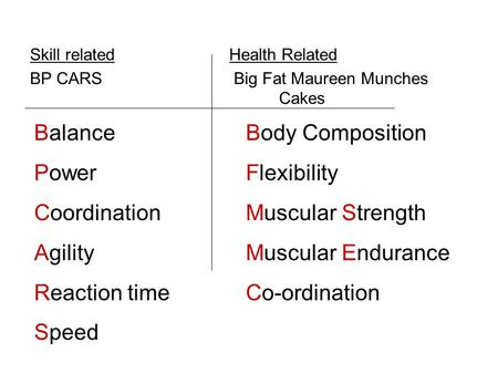 Skill relatedHealth Related BP CARS Big Fat Maureen Munches Cakes Balance Power Coordination Agility Reaction time Speed Body Composition Flexibility Muscular.