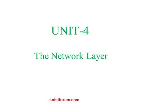 The Network Layer UNIT-4 snistforum.com. Network Layer Design Issues Store-and-Forward Packet Switching Services Provided to the Transport Layer Implementation.