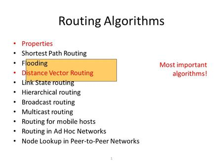 1 Most important algorithms! Routing Algorithms Properties Shortest Path Routing Flooding Distance Vector Routing Link State routing Hierarchical routing.