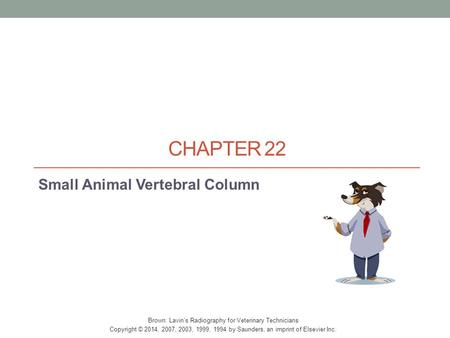 CHAPTER 22 Small Animal Vertebral Column Brown: Lavin's Radiography for Veterinary Technicians Copyright © 2014, 2007, 2003, 1999, 1994 by Saunders, an.