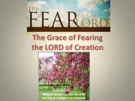 The Grace of Fearing the LORD of Creation. God is gracious in all He does! Eph. 1:3-14, James 1:12-18, esp. 1:17. God is gracious in all He does! Eph.