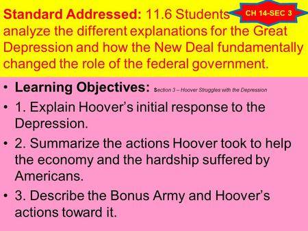 Standard Addressed: 11.6 Students analyze the different explanations for the Great Depression and how the New Deal fundamentally changed the role of the.