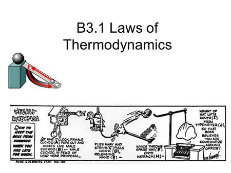 B3.1 Laws of Thermodynamics. 1 st Law of Thermodynamics Energy cannot be created nor destroyed, only converted from one form to another Example: Flashlight.