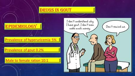 Drugs in gout epidemiology Male to female ration 10:1 Prevalence of hyperuricemia 5% Prevalence of gout 0.2%