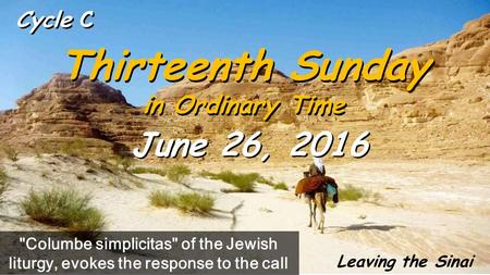 Cycle C Thirteenth Sunday in Ordinary Time Thirteenth Sunday in Ordinary Time June 26, 2016 Columbe simplicitas of the Jewish liturgy, evokes the response.