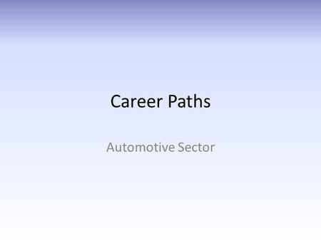 Career Paths Automotive Sector. Career Path: 3 Sub-sectors Auto AUTOMOTIVE R&D AND MANUFACTURING AUTOMOTIVE SALES & SERVICE ROAD TRANSPORTATION Inter-Sector.