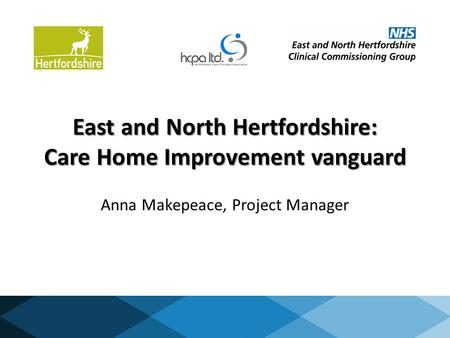East and North Hertfordshire: Care Home Improvement vanguard Anna Makepeace, Project Manager.
