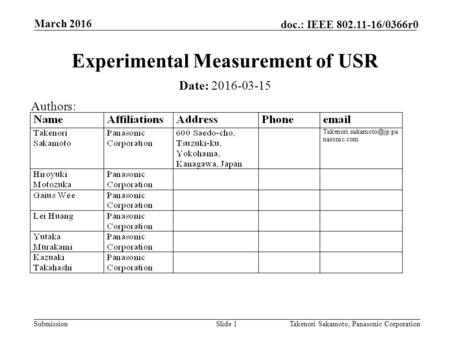 Submission doc.: IEEE /0366r0 March 2016 Takenori Sakamoto, Panasonic CorporationSlide 1 Experimental Measurement of USR Date: Authors: