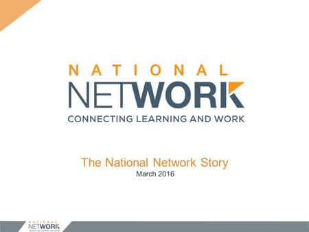 The National Network Story March OUR STORY 1. The Challenge 2. The Solution 1. The Road Ahead.