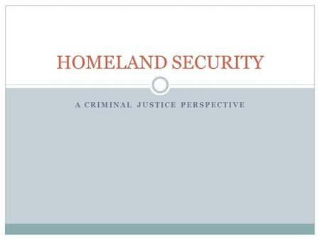 A CRIMINAL JUSTICE PERSPECTIVE HOMELAND SECURITY.