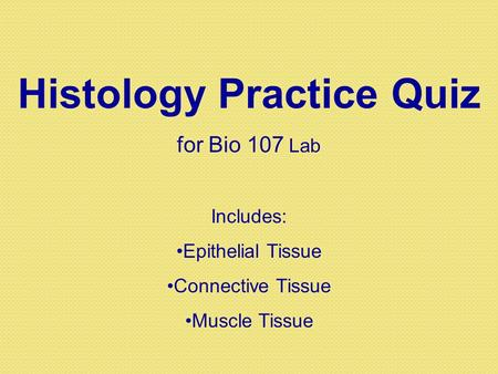 Histology Practice Quiz for Bio 107 Lab Includes: Epithelial Tissue Connective Tissue Muscle Tissue.
