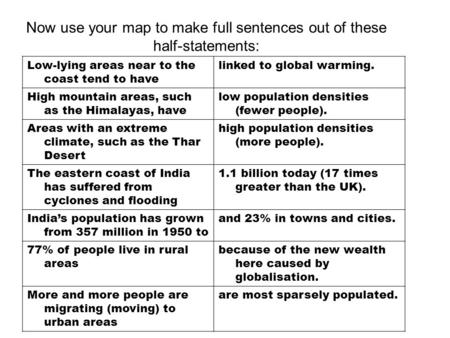 Now use your map to make full sentences out of these half-statements: Low-lying areas near to the coast tend to have linked to global warming. High mountain.