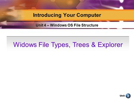 Unit Unit 4 – Windows OS File Structure Introducing Your Computer Widows File Types, Trees & Explorer.