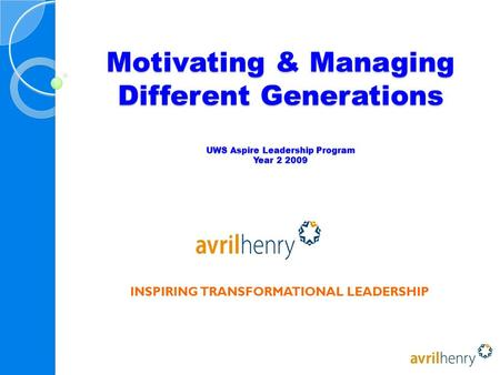 Motivating & Managing Different Generations UWS Aspire Leadership Program Year INSPIRING TRANSFORMATIONAL LEADERSHIP.