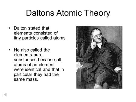 Daltons Atomic Theory Dalton stated that elements consisted of tiny particles called atoms He also called the elements pure substances because all atoms.