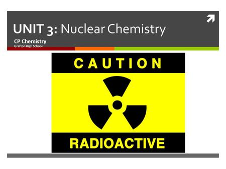  UNIT 3: Nuclear Chemistry CP Chemistry Grafton High School.