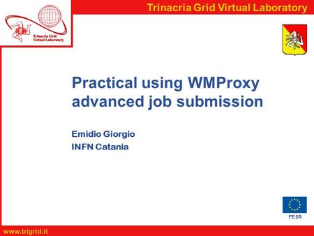 FESR  Trinacria Grid Virtual Laboratory Practical using WMProxy advanced job submission Emidio Giorgio INFN Catania.