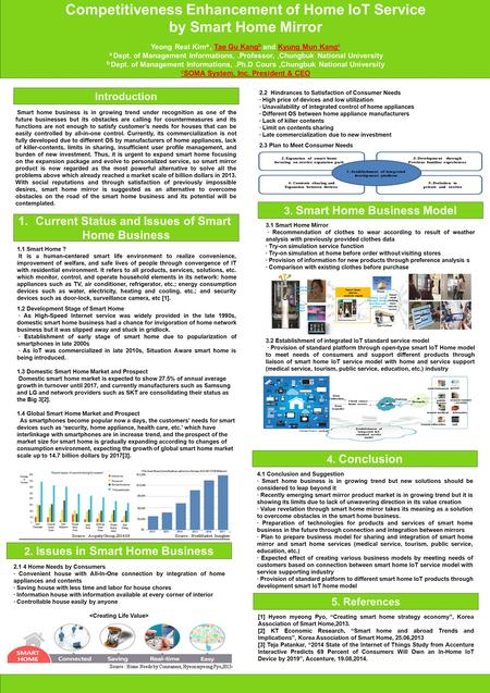 Competitiveness Enhancement of Home IoT Service by Smart Home Mirror Yeong Real Kim a, Tae Gu Kang b and Kyung Mun Kang c a Dept. of Management Informations,.Professor,,Chungbuk.
