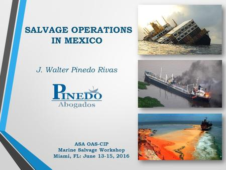 SALVAGE OPERATIONS IN MEXICO J. Walter Pinedo Rivas ASA OAS-CIP Marine Salvage Workshop Miami, FL: June 13-15, 2016.