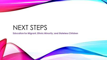 NEXT STEPS Education for Migrant, Ethnic Minority, and Stateless Children.