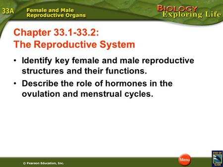 Identify key female and male reproductive structures and their functions. Describe the role of hormones in the ovulation and menstrual cycles. Chapter.