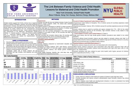 The Link Between Family Violence and Child Health: Lessons for Maternal and Child Health Promotion New York University, Global Public Health Besa H Bauta,