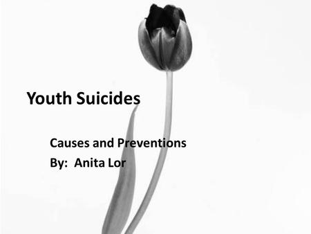 Youth Suicides Causes and Preventions By: Anita Lor.