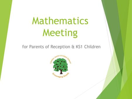 Mathematics Meeting for Parents of Reception & KS1 Children.