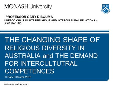 PROFESSOR GARY D BOUMA UNESCO CHAIR IN INTERRELIGIOUS AND INTERCULTURAL RELATIONS – ASIA PACIFIC THE CHANGING SHAPE OF RELIGIOUS DIVERSITY.