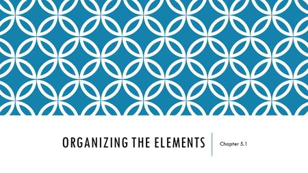 ORGANIZING THE ELEMENTS Chapter 5.1. THE IMPORTANT QUESTIONS WHY DID WE NEED TO ORGANIZE THE ELEMENTS?! HOW DID MENDELEEV ORGANIZE THE ELEMENTS? WAS WHAT.