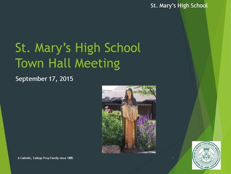 St. Mary's High School St. Mary's High School Town Hall Meeting September 17, 2015 A Catholic, College Prep Family since