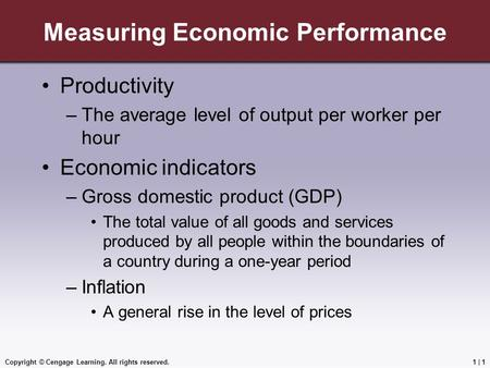 Copyright © Cengage Learning. All rights reserved.1 | 1 Measuring Economic Performance Productivity –The average level of output per worker per hour Economic.