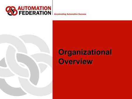 Organizational Overview. Automation Federation Background A fragmented community of automation professional associations and societies – creating opposition.