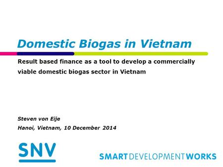 Domestic Biogas in Vietnam Result based finance as a tool to develop a commercially viable domestic biogas sector in Vietnam Steven von Eije Hanoi, Vietnam,