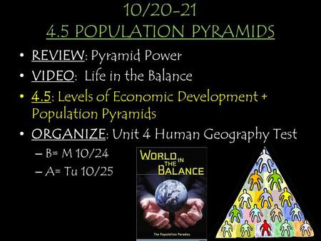 10/ POPULATION PYRAMIDS REVIEW: Pyramid Power VIDEO: Life in the Balance 4.5: Levels of Economic Development + Population Pyramids ORGANIZE: Unit.