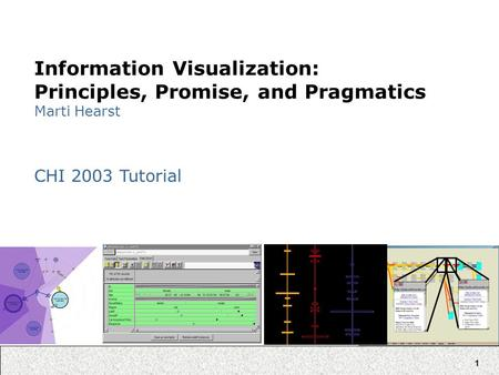 1 Information Visualization: Principles, Promise, and Pragmatics Marti Hearst CHI 2003 Tutorial.