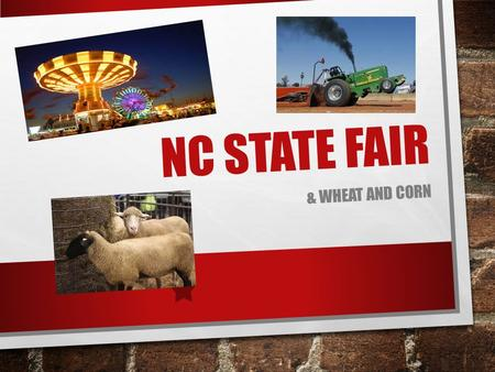 NC STATE FAIR & WHEAT AND CORN. EXPLAIN WHY WE HAVE THE NC STATE FAIR. TO CELEBRATE NC'S AGRICULTURE AGRICULTURE IS WHAT BUILT THIS STATE. FARMERS BRING.